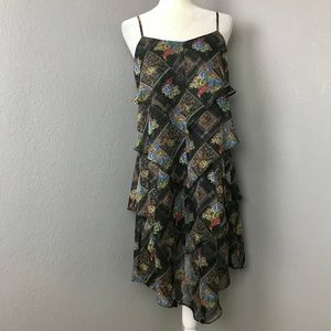 Free People Black Floral Tiered Handkerchief Dress